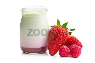 yogurt in jar with strawberries and raspberries
