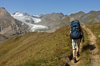 Hiker on a hiking tour, Valais, Switzerland