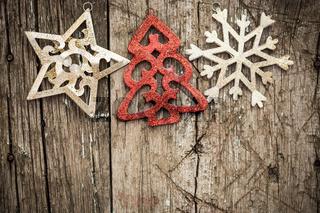 Christmas ornament on wood