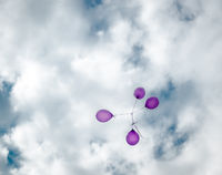 Flying balloons in the blue sky