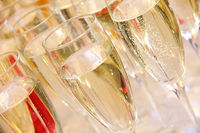 Many glasses of sparkling champagne
