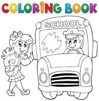 Coloring book school bus theme 3 - picture illustration.