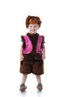Image of happy boy dressed in Bear suit