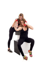 Athletic girlfriends makes selfie with dumbbells