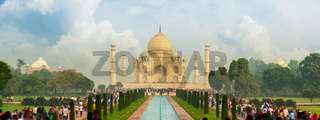 Famous Taj Mahal, visited by thousands of tourists every day. Arga, India