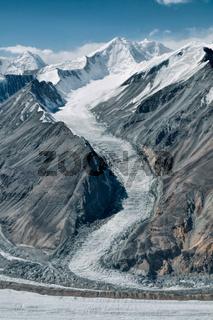Scenic glacier in Pamir mountains in Tajikistan