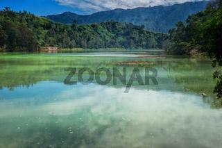 Hills reflected in Telaga Warna
