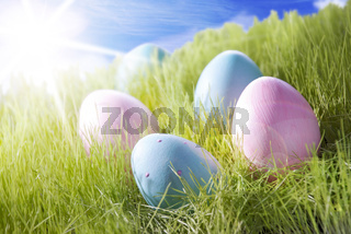 Five Colorful Easter Eggs On Sunny Grass
