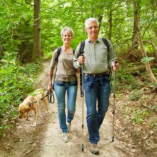 Zwei Senioren wandern mit Hund im Wald