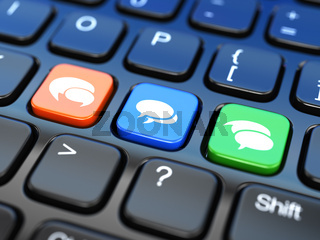 Social media on laptop keyboard. Conceptual image.