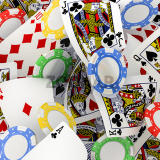 dice, chips and cards