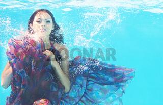 Underwater woman portrait in swimming pool