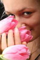 girl and tulips girl and tulips