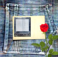 Old vintage postcard with beautiful red rose on blue jeans background