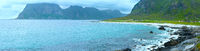 Haukland beach summer panorama (Norway, Lofoten).