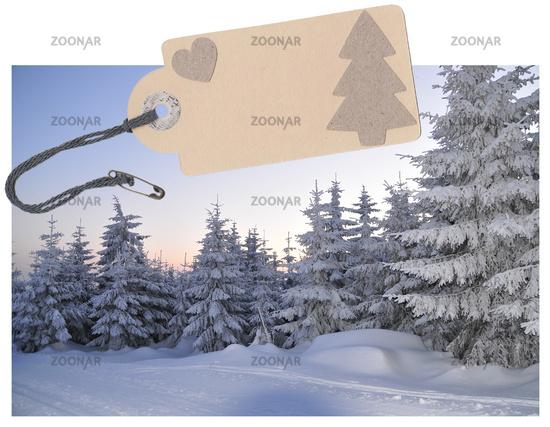 Label cardboard paper cord winter