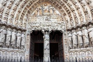 Notre Dame cathedral facade in Paris