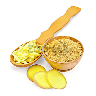 Ginger powder and grated with root slices