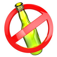 Stop alcohol or No glass sign.  Bottle on white isolated background.