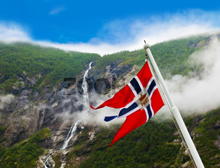Norway flag and waterfall