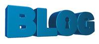 das wort blog mit schlüsselloch - 3d illustration