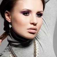 elegant fashionable woman with violet visage