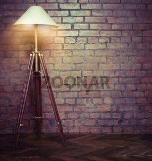Interior of loft with retro lamp