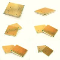 Set of modern CPU rear side with golden connection legs, collection of images