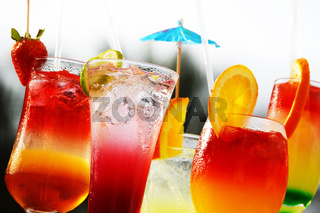 Composition with five glasses of drinks