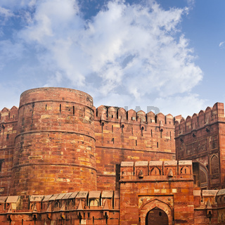 Walls of the ancient Red Fort in Agra, India