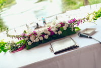 Beautiful bouquet on table for a wedding ceremony