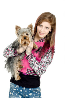 young girl with her pet yorkshire