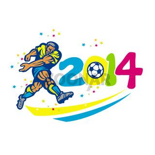 Brazil 2014 Soccer Football Player Isolated Retro
