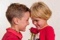 Bub schenkt eine Rose