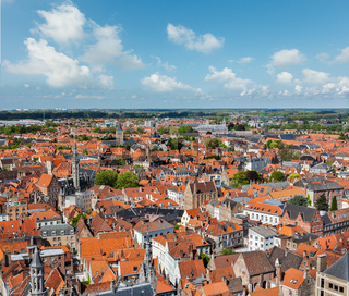 Aerial view of Bruges (Brugge) from Belfry