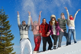 friends have fun at winter on fresh snow