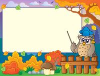 Autumn frame with owl teacher 3 - picture illustration.