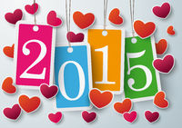 Four Colored Price Stickers Hearts 2015