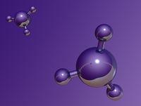 molekülmodell auf lila hintergrund - 3d illustration