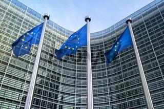 European Union flags near European commission
