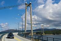 Die Stord Hängebrücke oder Stordabrua über die Meerenge Digernessundet als Verbindung zwischen den Inseln Stord and Føyno