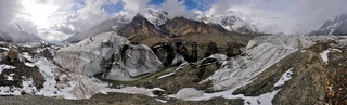 Panorama of scenic Engilchek glacier with picturesque Tian Shan mountain range in Kyrgyzstan