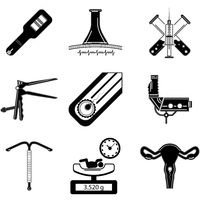Black silhouette icons for obstetrics