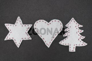 Stern, Herz und Tannenbaum aus Filz