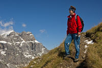 Hiker in the Glarus Alps, Switzerland