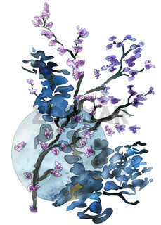 Flower twigs and blue moon isolated on white abstract watercolor painting