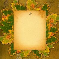 Old paper listing on rusty metal wall with bright orange autumn leaves
