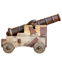 Medieval cannon isolated on white background. Ancient European artillery