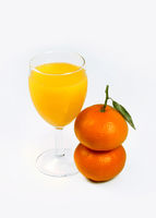 Citrus juice and two tangerines