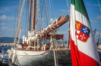 Sailing yacht with the Italian flag